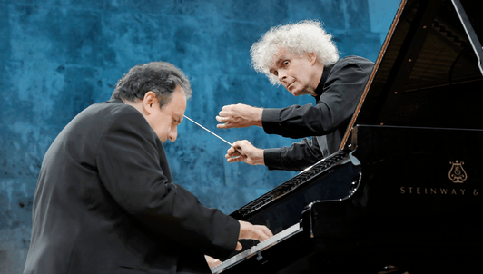 Sir Simon Rattle conducts Tchaikovsky, Rachmaninov, Stravinsky, and Lincke – With Yefim Bronfman