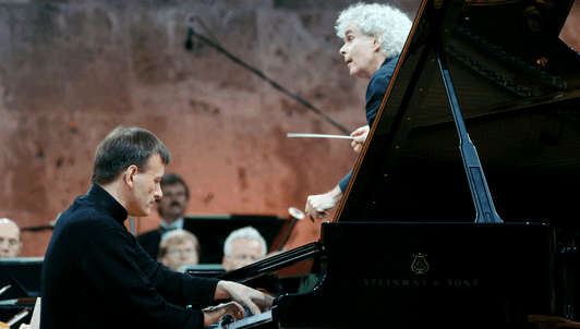 Sir Simon Rattle conducts rhapsodies – With Stephen Hough